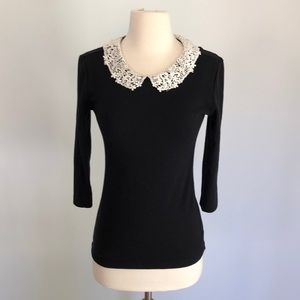 Forever 21 Lace Peter Pan Collar Black Sweater Sm